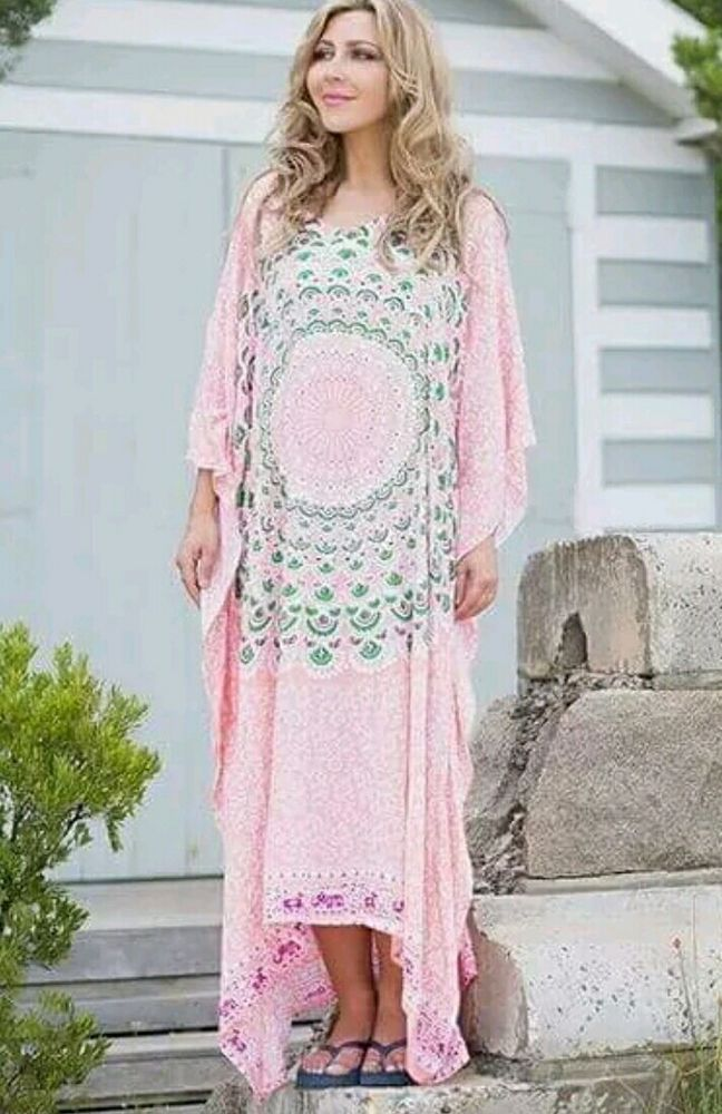 NWT Boho Plus Size  Mandala Kaftan Dress Pink Green Gypsy Bohemian Hippie  FS  in Clothing, Shoes, Accessories, Women's Clothing, Dresses | eBay!
