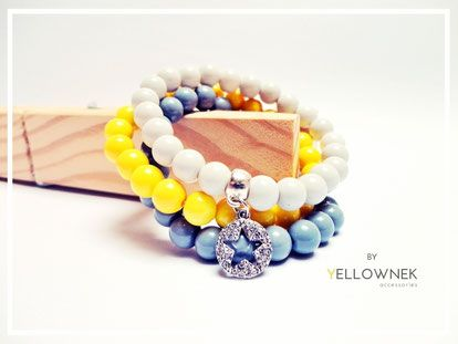 """BY YELLOWNEK"" Stylish handmade glass bead bracelets (grey. yellow, light grey) with little charm. Beads size : 8mm  You can order a single bracelet."