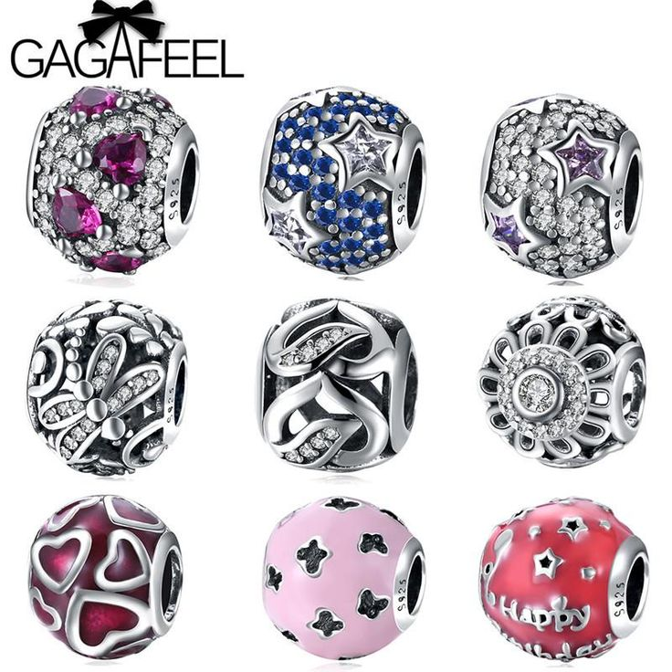 GAGAFEEL 925 Sterling Silver Blue Crystals Round Beads Fit Pandora Bead Charms Bracelets Bangles DIY Star Heart Love Beads