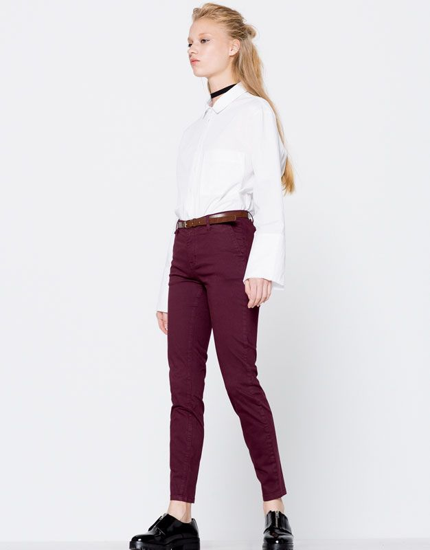:Chino-style trousers with belt