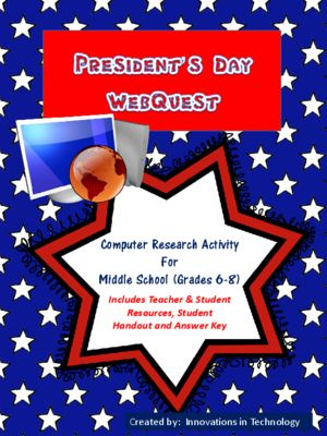 This Webquest / Internet scavenger hunt is a perfect one day activity for middle schoolers to learn more about our Presidents and Presidents' Day. This is a fun lesson for technology classes or history classes.  The lesson includes teacher and student resources, the student handout and an answer key. This is a great lesson to leave with a sub too!
