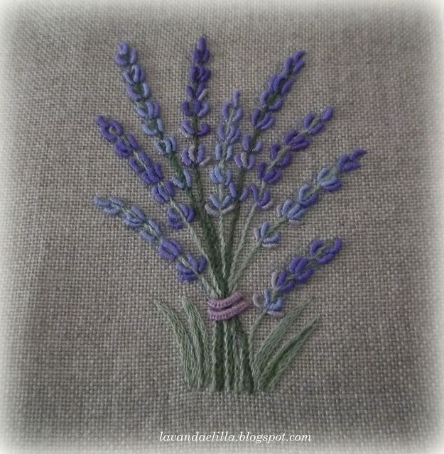 bullion stitched lavender embroidery
