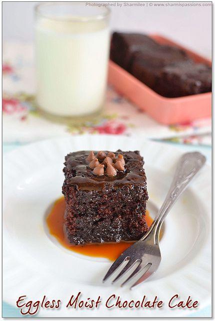Eggless Chocolate Cake - Moist Chocolate Cake Recipe(No butter)
