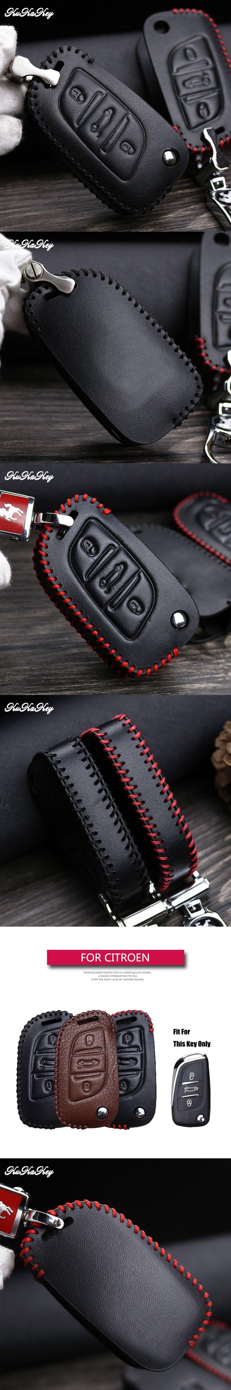 KUKAKEY For Citroen C2 C3 C4 Auto Car Key Case Leather Cover For Citroen C2 C3 C4 Coupe VTR Berlingo C6 C8 Key Coldre Cover Bag