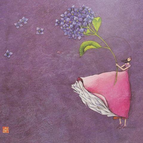 gaelle boissonnard art | Gaelle Boissonnard art card girl in pink with hyacinth flower light ...