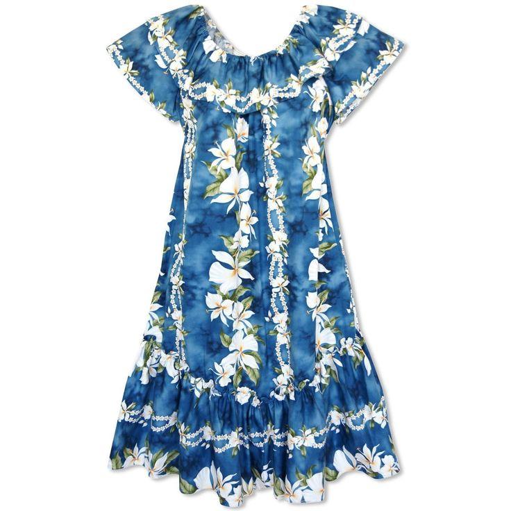 Ginger Blue Short Ruffle Hawaiian Muumuu Dress