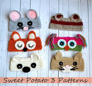 This crochet pattern comes with complete instructions for these fun Animal Ear Warmers. The set includes the earwarmer band and instructions for the following animals: