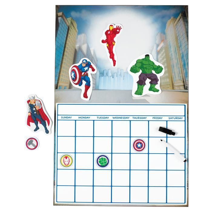 """Dry-erase calendar (22"""" H x 14 1/2"""" W) includes marker with eraser and 8 removable decals of Captain America, Iron Man, Thor and The Incredible Hulk as well as their symbols. Ages 3 and up. Paper, vinyl.©2015 MARVELWhile Supplies Last AvonRep shirlean walker"""