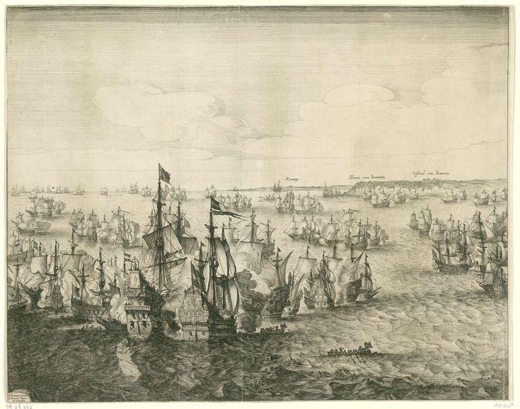 Salomon Savery | Zeeslag bij Duins (linkerplaat), 1639, Salomon Savery, 1640 | Zeeslag bij Duins tussen de Spaanse vloot onder bevel van Antonio de Oquendo en de Staatse vloot onder Maarten Harpertsz. Tromp, 21 oktober 1639. Op de voorgrond op de spiegel gezien het admiraalsschip van Tromp de Aemilia (Amelia) naast de Santa Teresa die in brand staat. Op de achtergrond de Engelse kust tussen Romney en Dover. De linkerplaat in een ongemonteerd ensemble bestaande uit een grote voorstelling in…