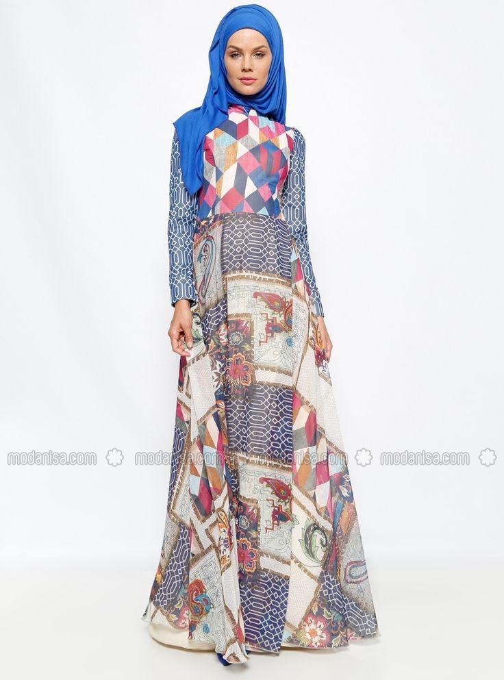 Şifon Garni Günlük Elbise - Lacivert - Dilek Etiz