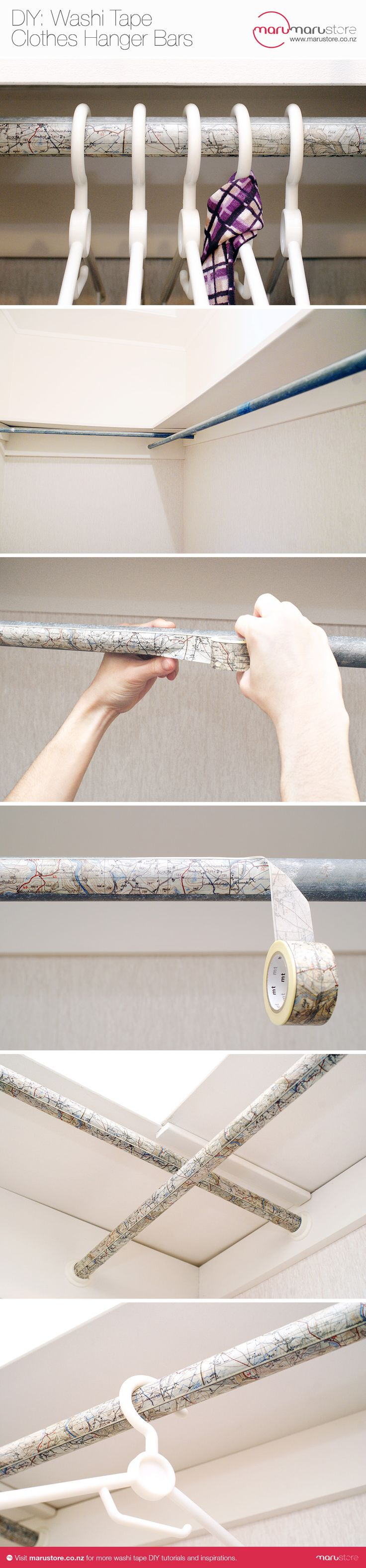 House Decorating with Washi Tape / Decora tu casa Clothes Hanger Bars Makeover