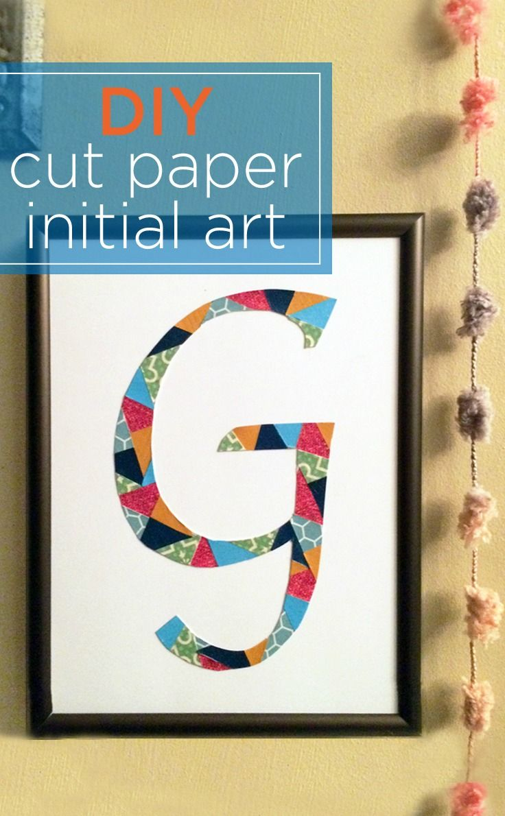 A fun craft tutorial using scrapbook paper to create colorful DIY monogram wall art. It's a great project idea for gifts or your own home decor.