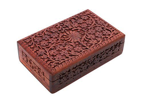 Dimensions: Length - 8 inches , Width - 5 inches, Height - 2.5 inches * Crafted using the finest Rosewood and further adorned with multifaceted carved floral designs * Box is internally lined with velvet to ensure its contents remain safe and scratch free * Store your personal jewelry or family heirlooms in royal style with this box, also can be used to keep precious stones, pearls, herbs, big tarot cards, Feng shui items, tools and many more * (Placed within the Amazon Associates program) *