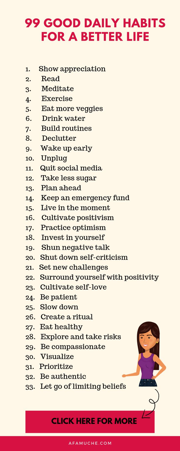 99 Good daily habits for a better life infographic