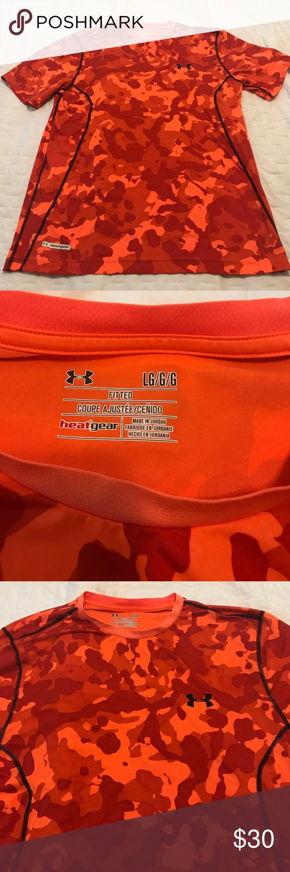 Under Armour Fitted HeatGear Shirt Size LG Fitted HeatGear Size Large Orange Camo Shirt.. Only worn a couple times. Excellent Condition Under Armour Shirts Tees - Short Sleeve