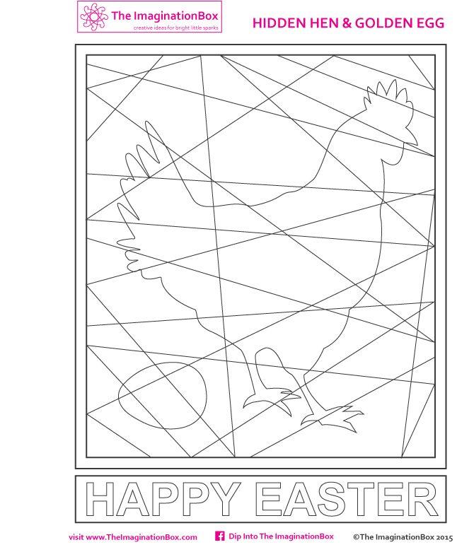 hidden hen colouring template