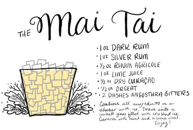 The Mai Tai Cocktail Recipe Card / Illustration by Shauna Lynn for Oh So Beautiful Paper