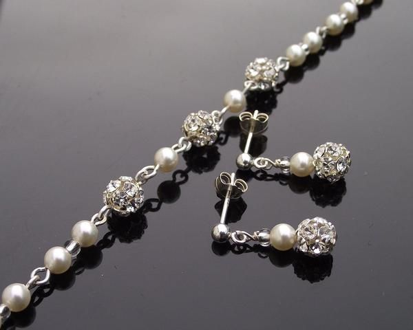 Bracelet & Earring Sets - Pearl & Crystal Encrusted Bracelet And Earring Set, Blossom
