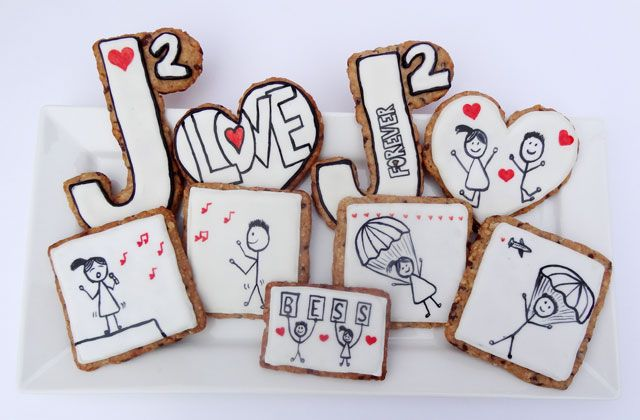 Best wedding cookies ever! (Made from the best (Lindsay for the Bess', J squared = )   Oatmeal Chocolate Chip Cut-Out Cookie Recipe, Love Cookies and An Awesome Wedding