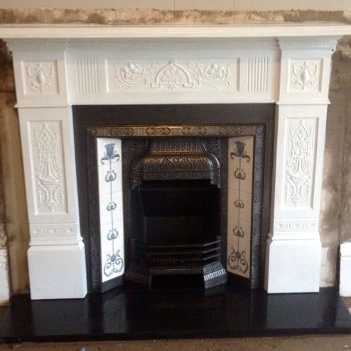 So after years of supplying cast surrounds in the traditional black colour, we was asked to paint one white, thought it would be best to spray so stunning cast detail wouldn't be lost.. End result is quite fantastic and who would think this fireplace is pushing 120 years old ?? Plenty more to choose from here www.victorianfireplacestore.co.uk
