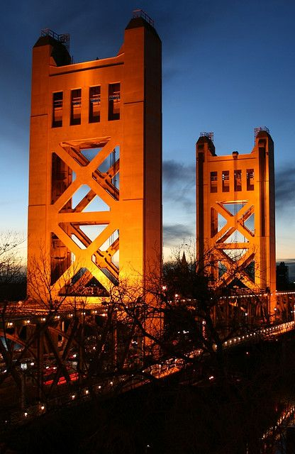 Tower Bridge of Sacramento, CA - by Paul Vo, January 2008. Just outside our hotel
