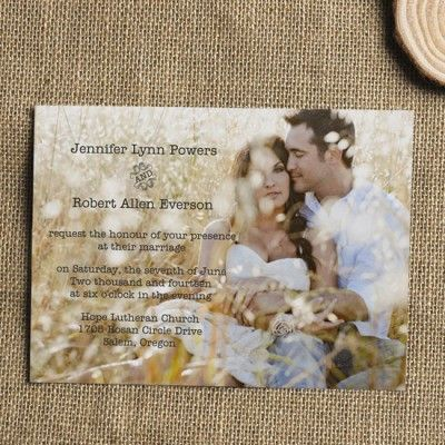 cheap simple rustic romantic photo wedding invite EWI304 |