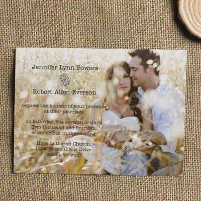 cheap simple rustic romantic photo wedding invite EWI304 |