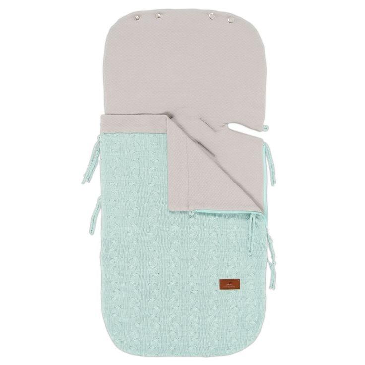 Sommer Strick-Fußsack 'Zopf uni' mint für Babyschale