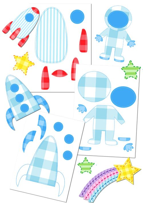 Аппликация для детей ко Дню космонавтики