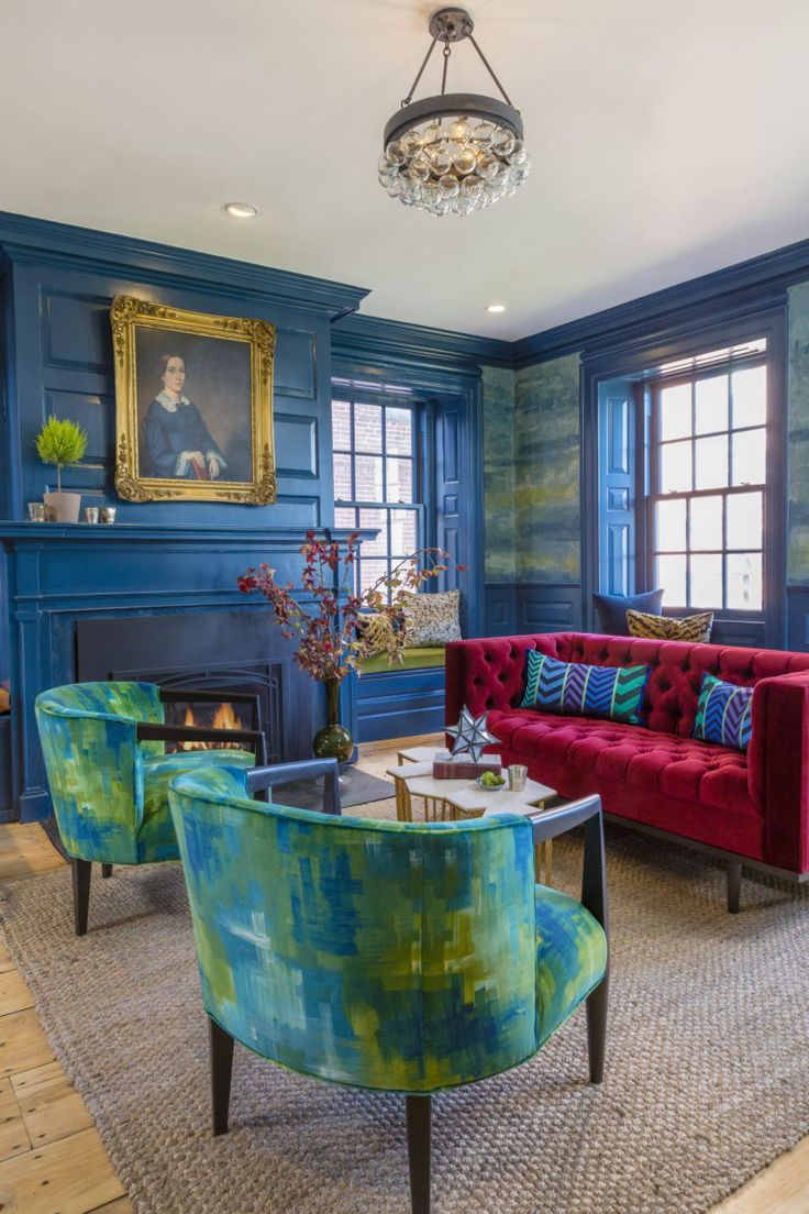 How To Rock A Peacock Blue Living Room The Merchant Hotel Via Hotel Chic