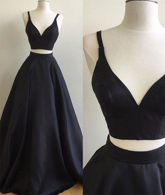 Simple Two Pieces Black Long Prom Dress, Black