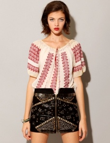 Embroidered top w/ Heavy metal skirt- i really like the combination