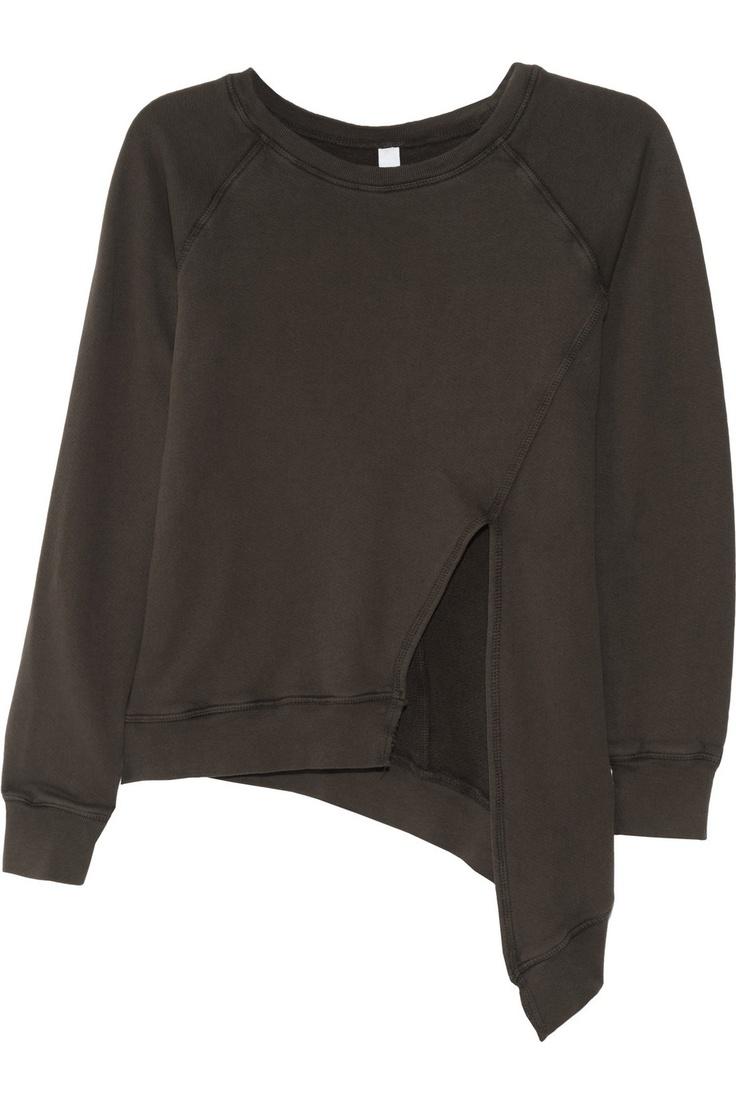 OAK|Asymmetric split-front cotton-jersey sweatshirt|NET-A-PORTER.COM, $145