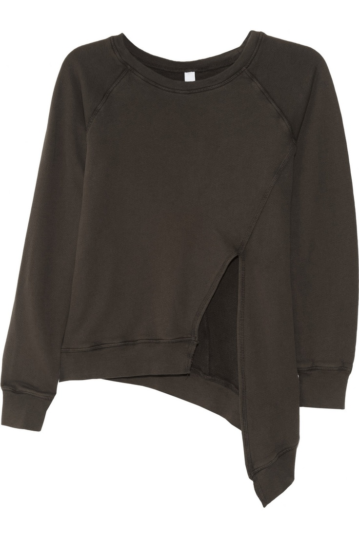 OAK | Asymmetric split-front cotton-jersey sweatshirt | NET-A-PORTER.COM, $145