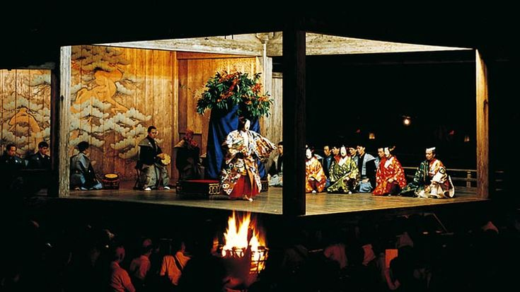 """On August 14, there is an evening performance of noh and kyogen plays on the 160-year-old outdoor noh stage at Hakusan Shrine, Chuson-ji. According to German architect Bruno Taut, the stage """"left the greatest impression [on him] among all the sights at Chuson-ji, for its simple yet refined structure."""""""