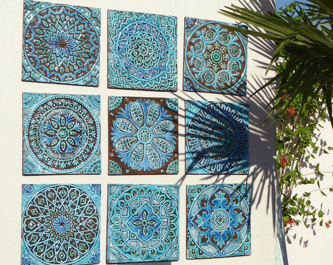 Set Of 10 Ceramic Tiles For Garden Decor Wall Sculpture Etsy