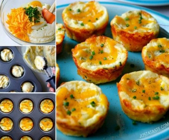 Cheesy Mash Potato Muffins  Mashed Potato Puffs Recipe