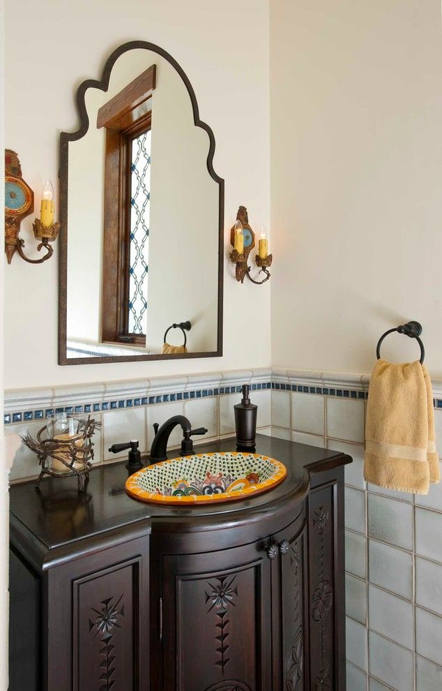 Cool Talavera Tile vogue Dallas Mediterranean Powder Room Decorators with OLD SPANISH STYLE painted sink Spanish style Spanish tile talavera tile towel ring wall