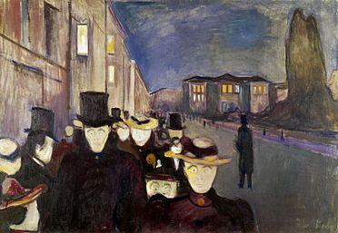 Edvard Munch - Sera sul viale Karl Johan- 1892  L'urlo lascia il posto ad una massa di uomini borghesi, immersi in un'atmosfera allucinante: gli uomini sono tutti pallidissimi, hanno tutti gli occhi sbarrati. È così che un'attività piacevole, come il passeggio, si trasforma in un lugubre corteo spettrale: con questa metamorfosi si manifesta il pensiero di Munch, che intravede nella borghesia un'umanità vuota, priva di sentimenti, che si limita ad esistere e non a vivere.