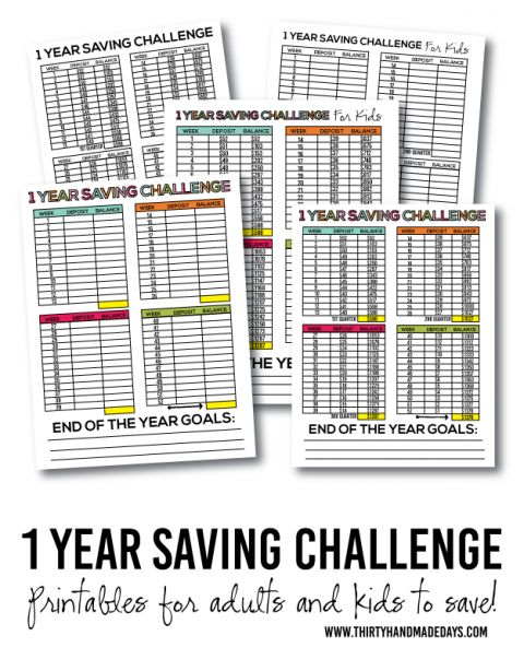 1 year saving challenge for adults and kids!  Start the new year out right with saving and teach your kids to do the same.  With tips and free printables included.   www.thirtyhandmadedays.com