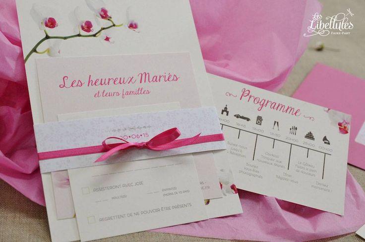 Faire-part mariage et programme Orchidée rose fuchsia