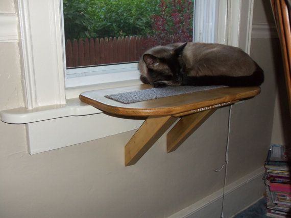 Perfect Perch Cat Window Seat Bed Bench Scratching pad wooden via Etsy