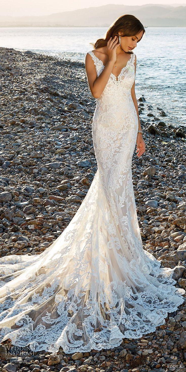 eddy k 2018 bridal sleeveless v neck full embellishment elegant fit and flare wedding dress open back chapel train (34) mv -- Eddy K. Dreams 2019 Wedding Dresses