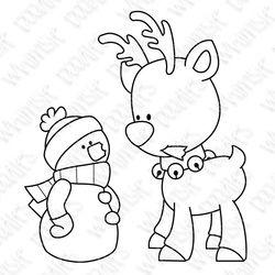 Reindeer snowman christmas holiday digital stamp