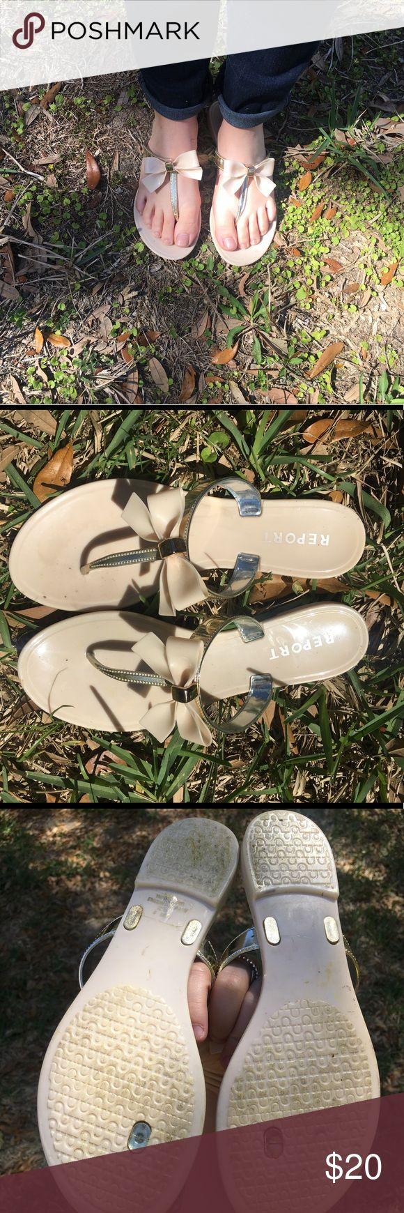 Report Blush Bow Flip Flop Sandals These are super cute and girly flip flops with a bow detail! They have only been worn a few times, just a little more girly than my personal style but still really cute! Great trendy color that will stay as a classic staple color! In great condition! Report Shoes Sandals