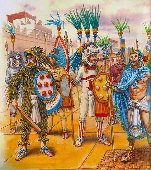 """La Pintura y la Guerra """"El Huel Tlatoani rodeado por sus oficiales. Junto a él dos caballeros de las dos ordenes militares , la del Jaguar y la del Águila"""""""