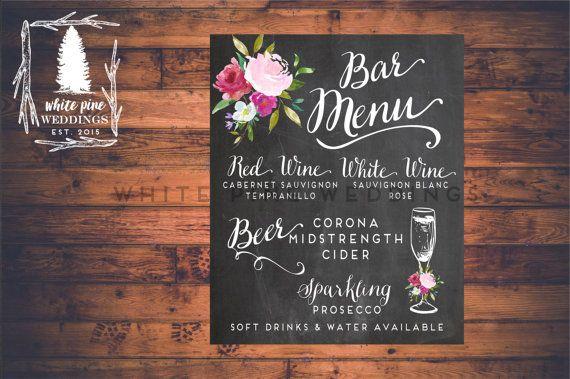 PRINTABLE Wedding Bar Menu Wedding Drink Sign by WhitePineWeddings