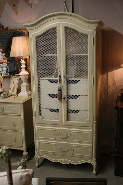 Painted Jewelry Armoire French