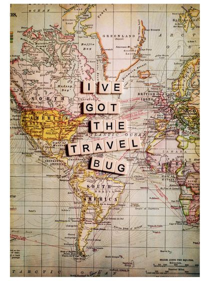 I've Got the Travel Bug. Canvas map of the world with scrabble tiles.