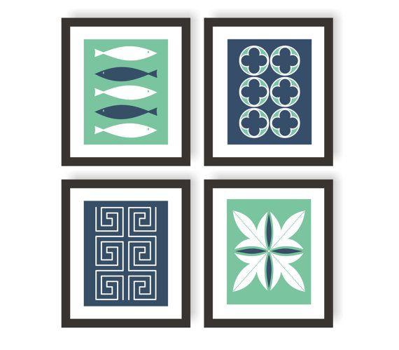 Mediterranean Wall Art Prints - Set of 4, Quatrefoil, Greek Pattern, Wall Decor, Nursery Decor, Kids Wall Art, Children's Art Print - 8x10